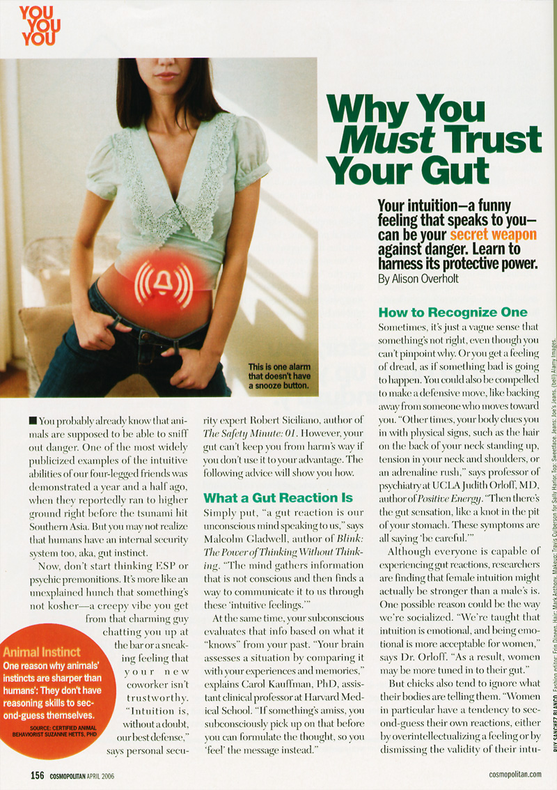 Cosmo: Why You Must Trust Your Gut