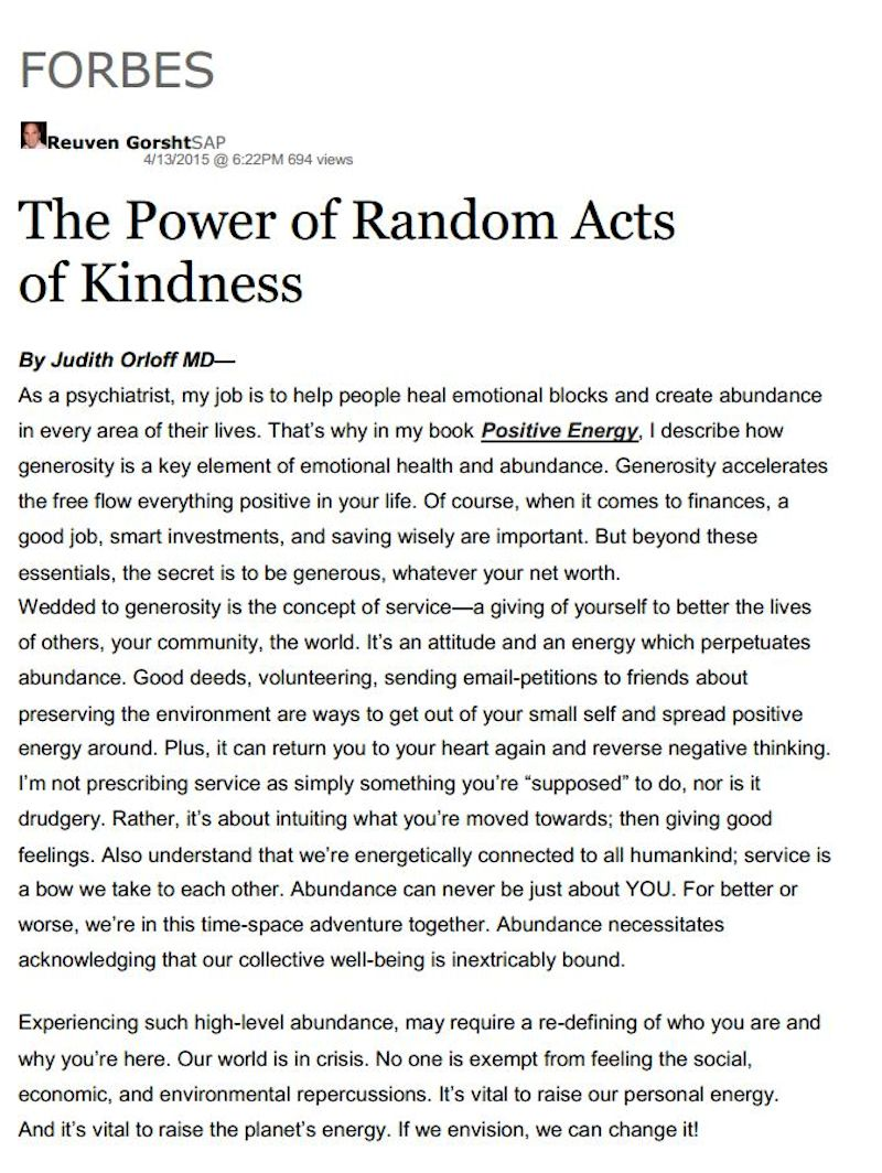 Random Acts of Kindness [Article]